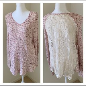 Free People Pink Oversize Knit Sweater